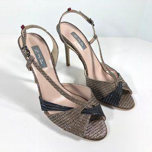 SJP Slingback Stiletto Heels Glittery Open Toe NEW